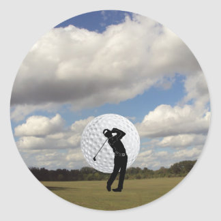 Mundo del golf pegatina redonda