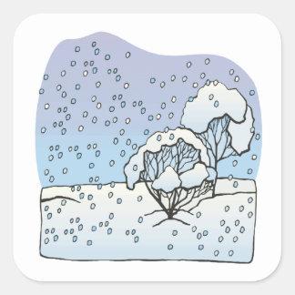 Mundo del invierno pegatina cuadrada
