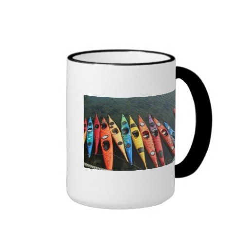 Mundo del kajak taza de dos colores