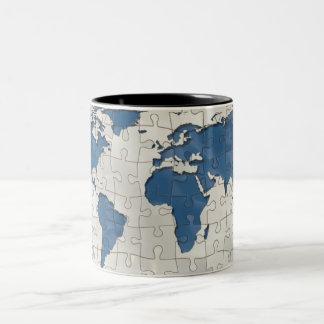 mundo del mosaico taza de café de dos colores