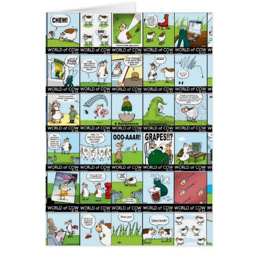 Mundo del papel pintado de la vaca tarjeta de felicitación