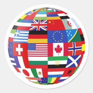 Mundo del pegatina de las banderas
