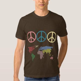 mundo del símbolo de paz remera