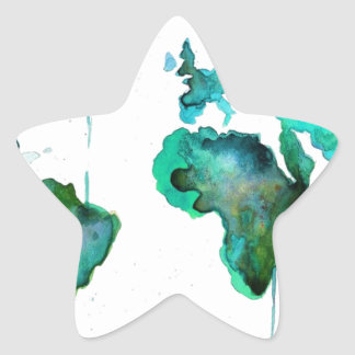 Mundo del Watercolour del mapa Pegatina En Forma De Estrella