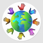 Mundo diverso etiqueta redonda