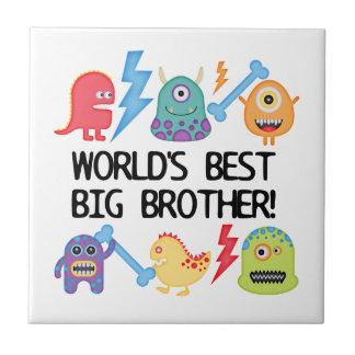 Mundo el mejor hermano mayor de los monstruos azulejo cuadrado pequeño