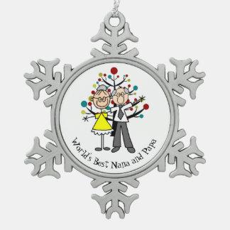 Mundo el mejor ornamento del copo de nieve de Nana Adorno De Peltre En Forma De Copo De Nieve