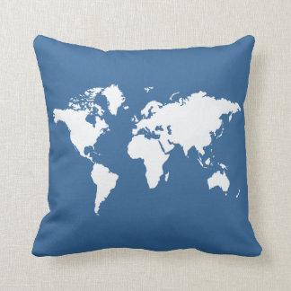 Mundo elegante azul cojín