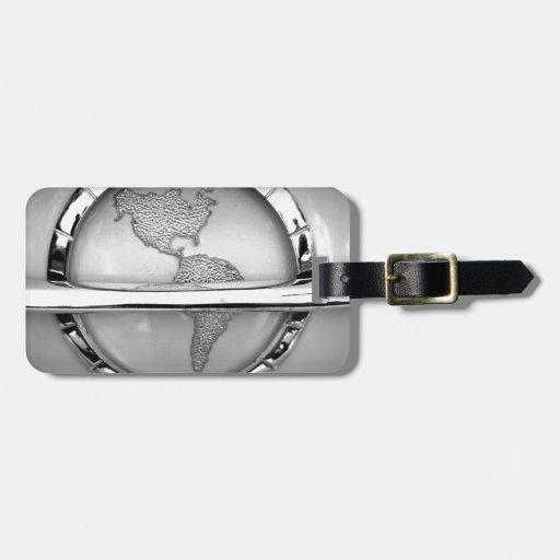 Mundo en cromo etiquetas para maletas
