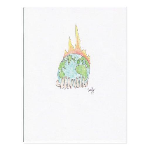 Mundo en el fuego tarjeta postal