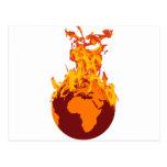 Mundo en el fuego tarjetas postales