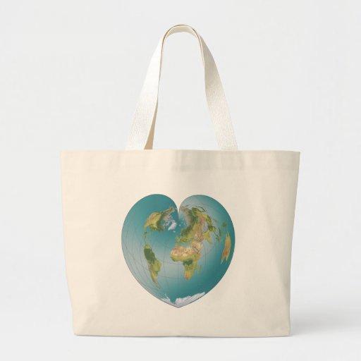 Mundo en forma de corazón bolsas