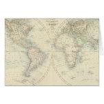 Mundo en hemisferios tarjeta de felicitación