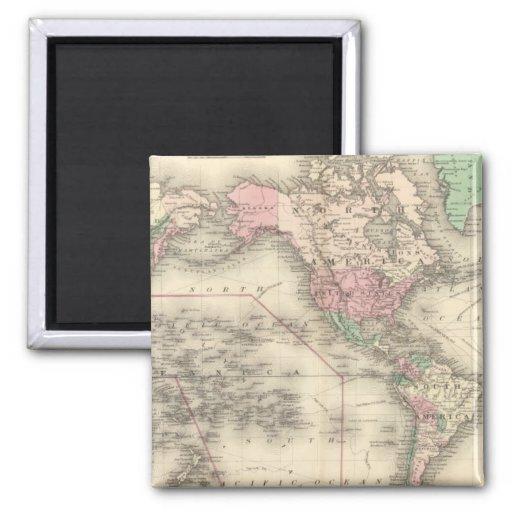 Mundo en la proyección de Mercator Imán Cuadrado