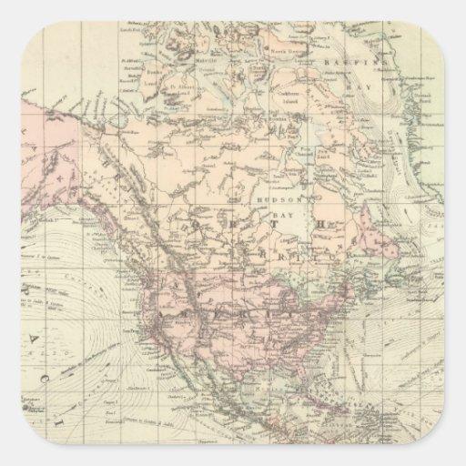 Mundo en la proyección de Mercator Pegatina Cuadradas Personalizadas