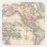 Mundo en la proyección de Mercator Pegatina Cuadrada