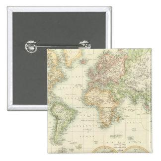 Mundo en la proyección de Mercator Pin Cuadrada 5 Cm