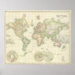 Mundo en la proyección de Mercator Póster