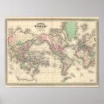 Mundo en la proyección de Mercator Posters