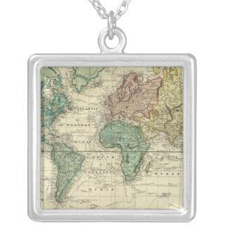 Mundo en la proyección de Mercators Colgante Cuadrado