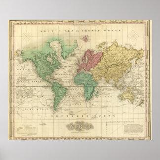 Mundo en la proyección de Mercators Impresiones