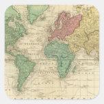 Mundo en la proyección de Mercators Pegatina Cuadrada