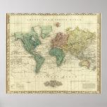 Mundo en la proyección de Mercators Póster
