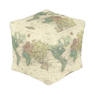 Mundo en la proyección de Mercators Pouf Cuadrado