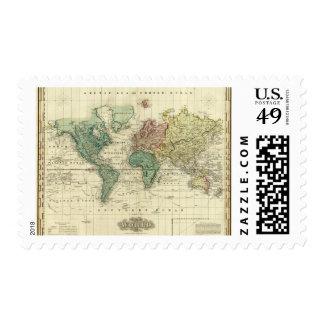 Mundo en la proyección de Mercators Sello Postal