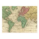 Mundo en la proyección de Mercators Tarjeta Postal