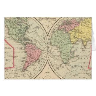 Mundo en la proyección globular tarjeton