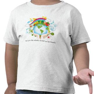 Mundo en manos, él tiene el mundo entero en el camiseta