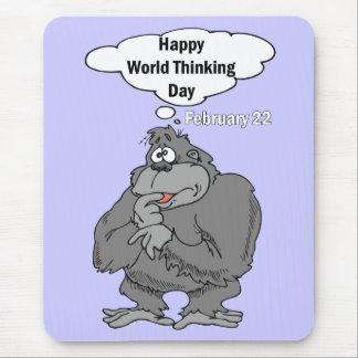 Mundo feliz día el 22 de febrero de pensamiento mousepads