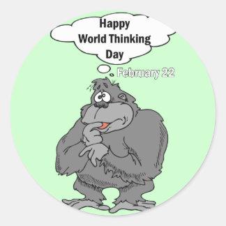 Mundo feliz día el 22 de febrero de pensamiento pegatina redonda