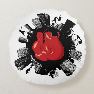 Mundo fresco del boxeo cojín redondo