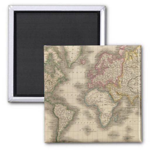 Mundo, la proyección de Mercator 2 Imán Cuadrado