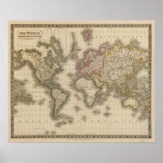 Mundo, la proyección de Mercator 2 Poster