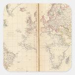 Mundo, la proyección de Mercator 2 Pegatina Cuadrada