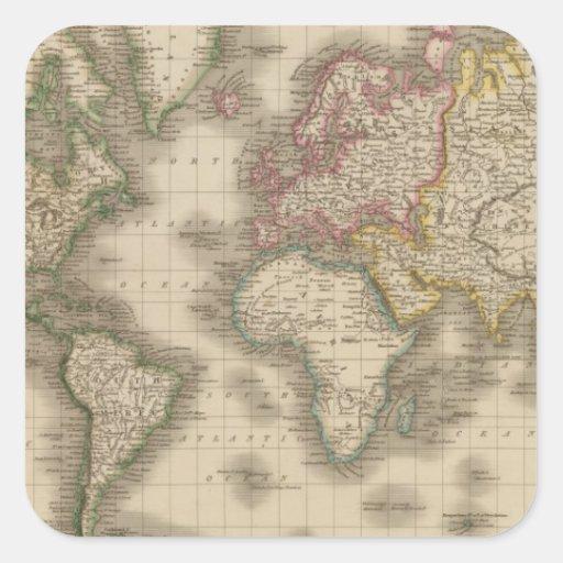 Mundo, la proyección de Mercator 2 Calcomanías Cuadradass Personalizadas