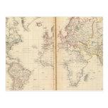 Mundo, la proyección de Mercator 2 Postal