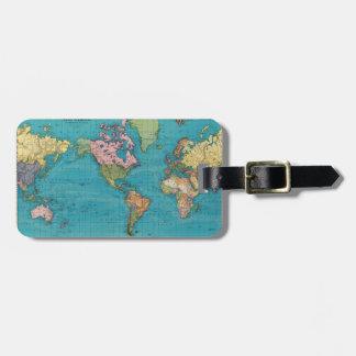Mundo, la proyección de Mercator Etiquetas Maleta