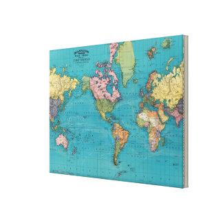 Mundo, la proyección de Mercator Lona Envuelta Para Galerias
