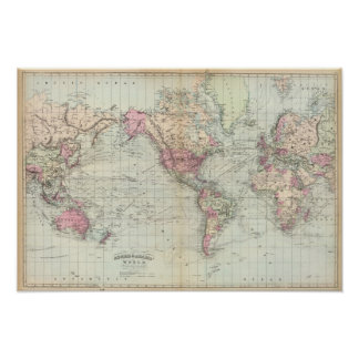 Mundo, la proyección de Mercator Poster