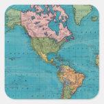 Mundo, la proyección de Mercator Pegatina Cuadrada