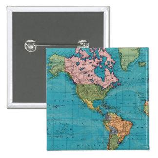 Mundo, la proyección de Mercator Pin Cuadrado