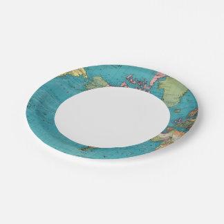 Mundo, la proyección de Mercator Plato De Papel De 7 Pulgadas