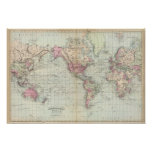 Mundo, la proyección de Mercator Póster
