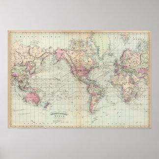 Mundo la proyección de Mercator Poster