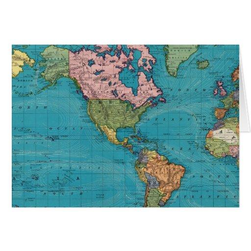 Mundo, la proyección de Mercator Tarjeta