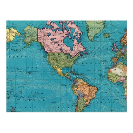 Mundo, la proyección de Mercator Tarjetas Postales